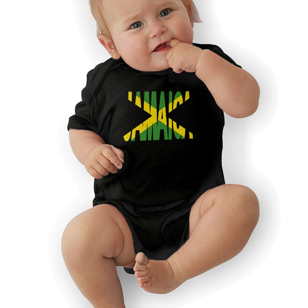 Fashion Jamaica Text with Jamaican Flag Crawler U88oi-8 Short Sleeve Cotton Bodysuit for Baby Girls Boys