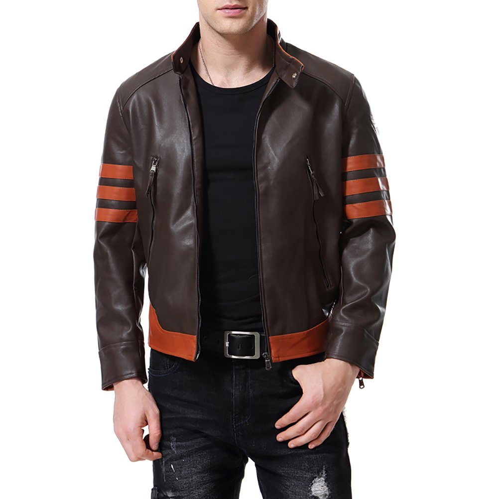 AOWOFS Men's Faux Leather Jacket Brown Punk Moto Motorcycle Bomber Fashion Slim Fit by AOWOFS