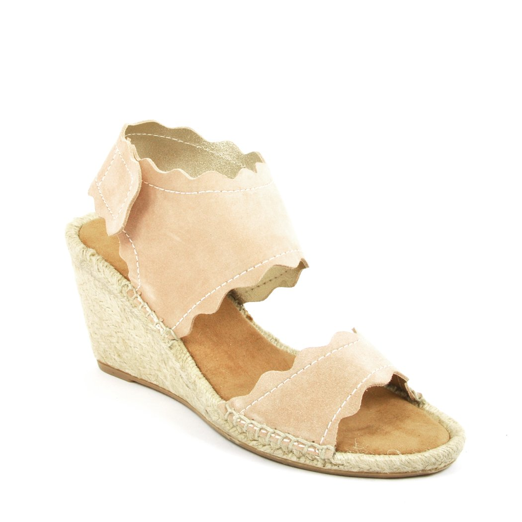 275 Central Queca - Suede Scallop Espadrille Wedge B07CTYTS5P 39 B Nude