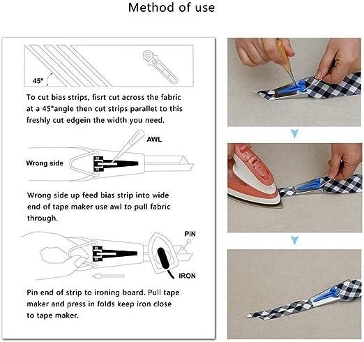 DTOWER 16pcs Multifunctional Fabric Bias Tape Maker Tool Kit Set 6mm 12mm 18mm 25mm 4 Sizes DIY Fabric Sewing Quilting Bias Tape Maker for Quilt Binding