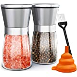 Salt and Pepper Grinder Set of 2, Adjustable Ceramic & Stainless Steel Mill Set, Glass Body Refillable Mill Shakers - Easy Cl