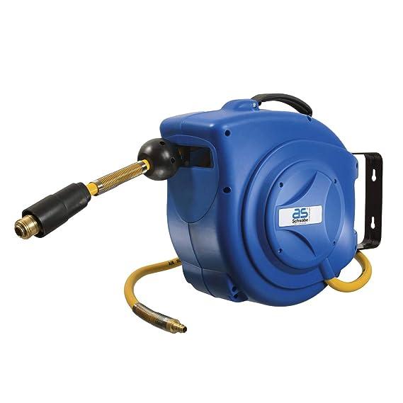 as - Schwabe Automatischer Druckluft-Schlauch-Aufroller – 10 m PVC-Gewebe Druckluftschlauch & 1 m Anschlussschlauch – Drucklu