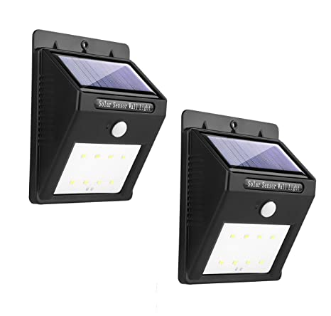 Miserwe Solar Led luces 2 Paquete Luz de Movimiento Solar 8 LED Sensor de Movimiento Led