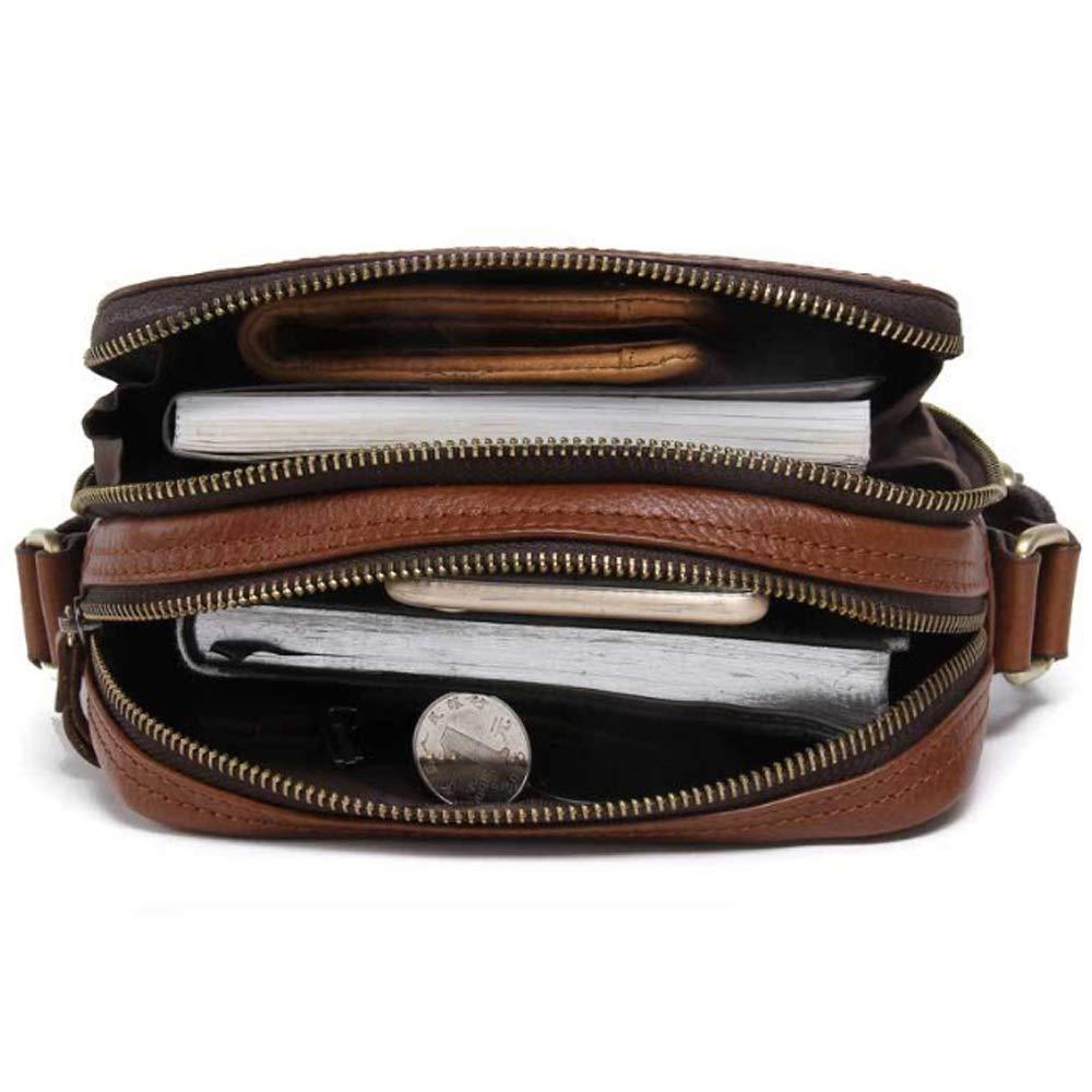 Color : Brown, Size : M AIYU--MAOYI Cortical M/änner Umh/ängetasche Leder Casual Umh/ängetasche Top Layer Leder Herren Tasche Gentleman