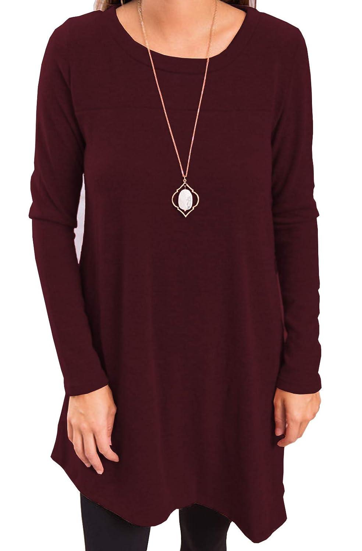 iGENJUN Womens Long Sleeve Scoop Neck Button Side Sweater Tunic Dress