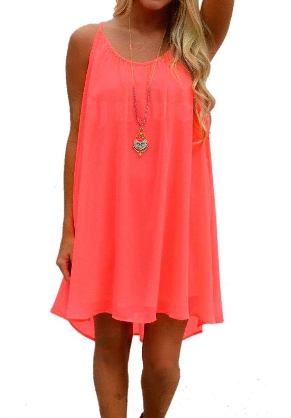 LeaLac Women's Summer Cotton Petite Fashion Vest Beach Bikini Swimsuit Swimwear Crochet Dress Gift for Women Q24843 Fluorescence Red