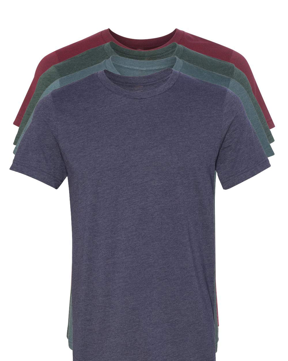 Kennedy Todd 4 Pack Men's Heather Cotton Poly T-Shirt (H Cardinal, H Navy, H Slate, H Forest, X-Large)