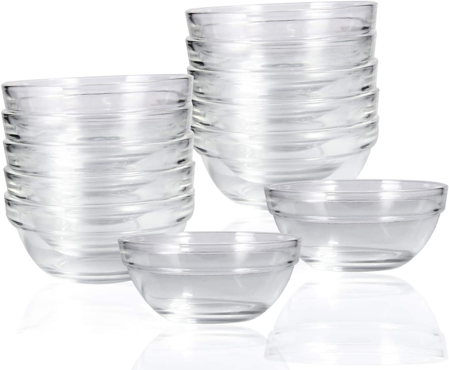 Dessert and Candy Dishes or Nut Bowls 12 PCS 4 Inch Glass Ramekins Bowls,WERTIOO Mini/Glass Bowls for Kitchen Prep Dips
