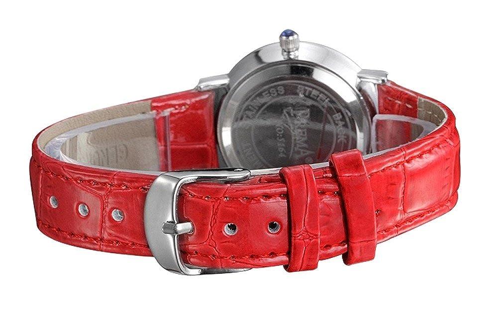 Amazon.com: Womens Rose Red piel decorativos relojes: Watches