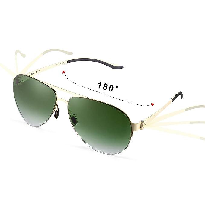 GONNA - Gafas de Sol Aviador Unisex Protección UV400 - Marca Retro/Vintage – Lentes Piloto Deportivas – Rojo/Verde
