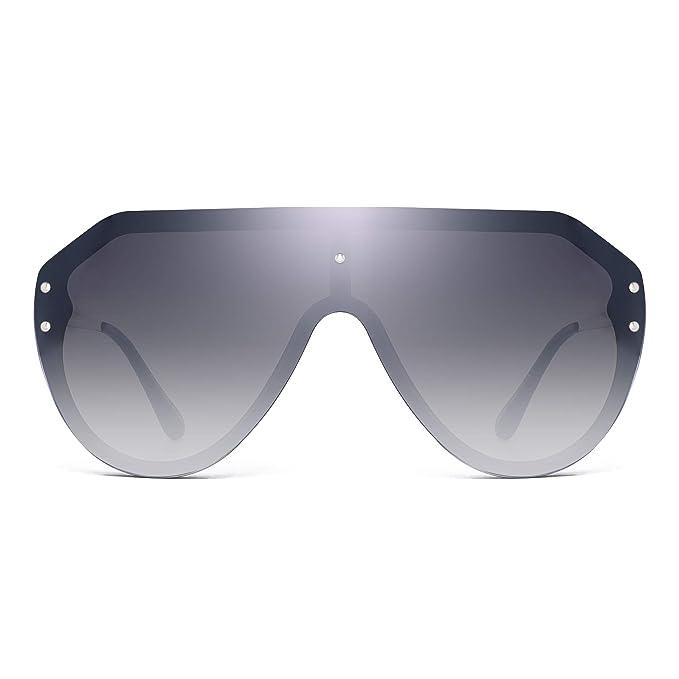 1ccfb2116 JIM HALO Oversized Shield Sunglasses Rimless Flat Top Mirror Glasses Women  Men (Black Frame/