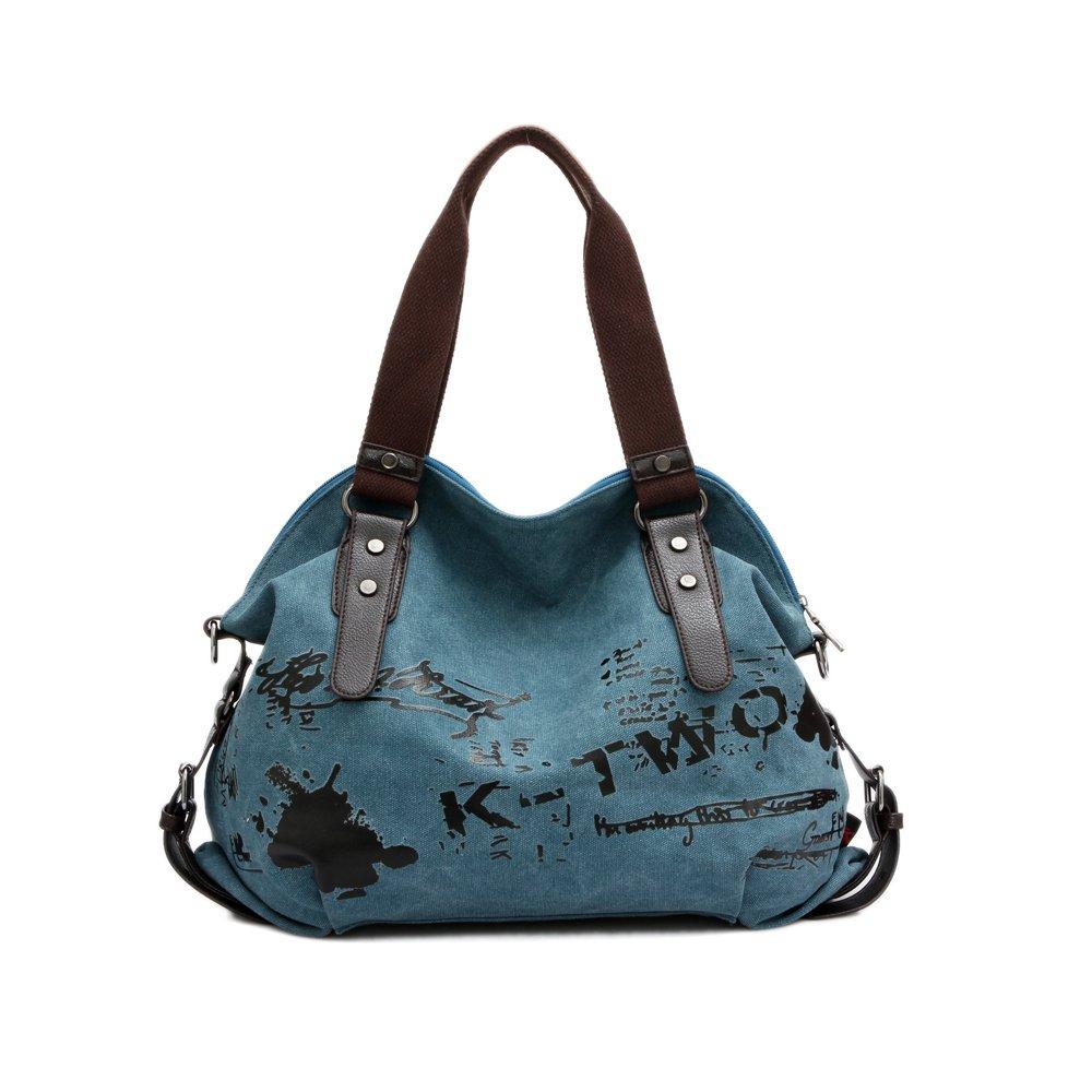 Chikencall Women Ladies Bags Casual Vintage Hobo Canvas Mulit-Pocket Daily Purse Messenger Top Handle Shoulder Large Tote Shopper Handbag Shopping Graffiti European Style Bags-Blue