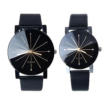 Montre Ronde Unisexe Convexe Cadran De Poignet En Cuir Quartz Horloge (Femme,  Noir) 8dc1da39849