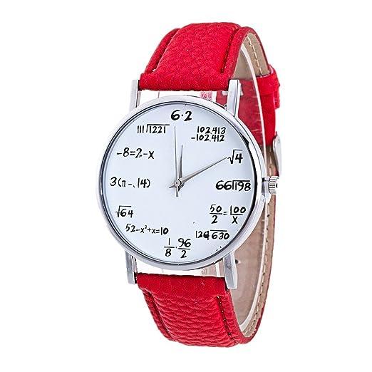 SKY Reloj de las mujeres Esfera del reloj digital de moda Pattern Leather Band Analog Quartz Vogue Watches (rojo): Amazon.es: Relojes