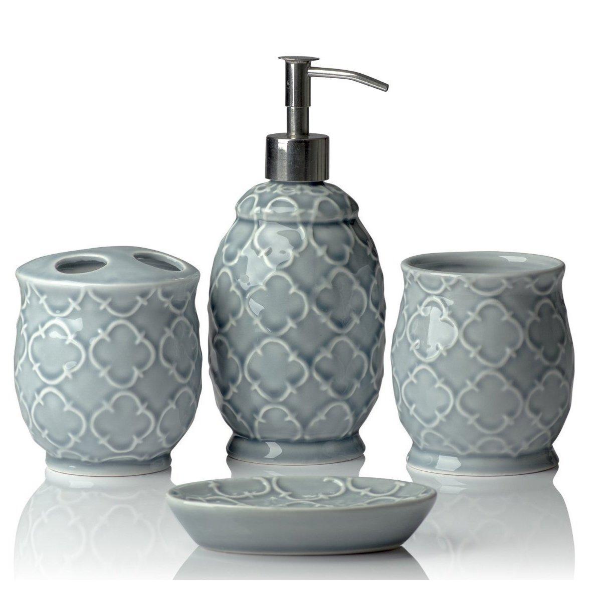 Designer 4-Piece Ceramic Bath Accessory Set | Includes Liquid Soap or Lotion Dispenser w/Toothbrush Holder, Tumbler, Soap Dish | Moroccan Trellis | Contour Grey