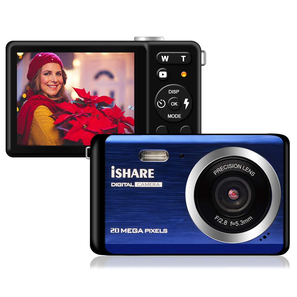 Digital Camera - 2.8'' TFT LCD Display Rechargeable Simple Digital Camera with 20mp for Kid/Girls/Boys/Students/Elderly (Blue) by ISHARE