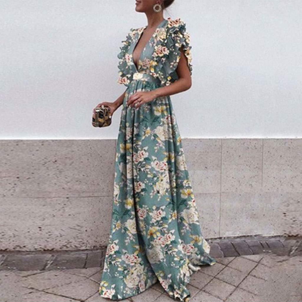 110b0bd0b5e Gyouanime Womens Plus Size Dress Long Maxi Deep V Neck Print Sleeveless  Backless Graduation Dress at Amazon Women s Clothing store