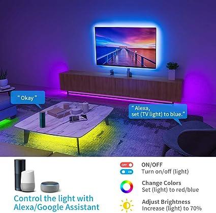 Govee Tiras LED Alexa WiFi 5M, Tira LED RGB Inteligente con Control APP, Sync con Música y 7 Modo Escenas, Luces LED Funciona con Alexa, Google Home para la Habitación, Navidad y