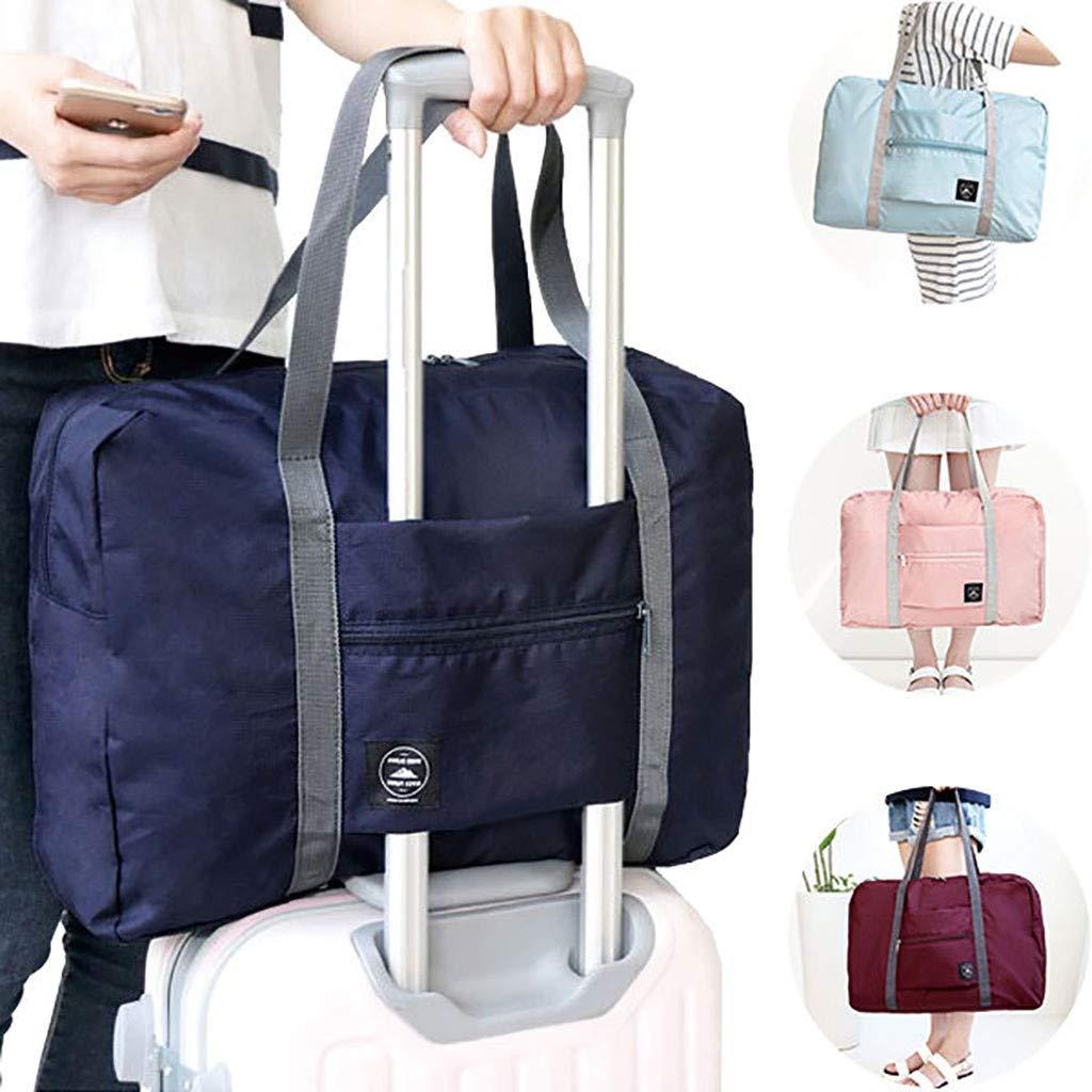 Basde Foldable travel bag Travel Duffle Bag Lightweight Waterproof Travel Luggage Bag Travel Gym Sports Duffle Bag for Women & Men Folding Handbag Shoulder Bag Storage Containers (Light blue) by Basde (Image #6)