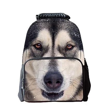 WUZHENG Unisex 3D Cute Dog Patterns Mochila Mochila Niños Niñas Casual School Bag Mochila Patrones de