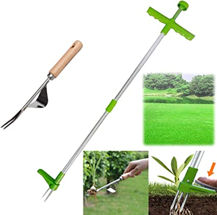 Manual Weeders 3 Claws Stand Up Weed Puller Garden Hand Tool with 39 Long Handle and High Strength Foot Pedal