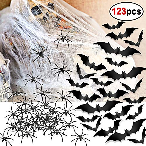 Konsait Halloween Bat Wall Stickers (60pcs) Black Plastic Spiders (60pcs) Stretch Spider Webs Webbing Cobwebs(3pack) Party Set for Halloween Decoration Party Favors Supplies -
