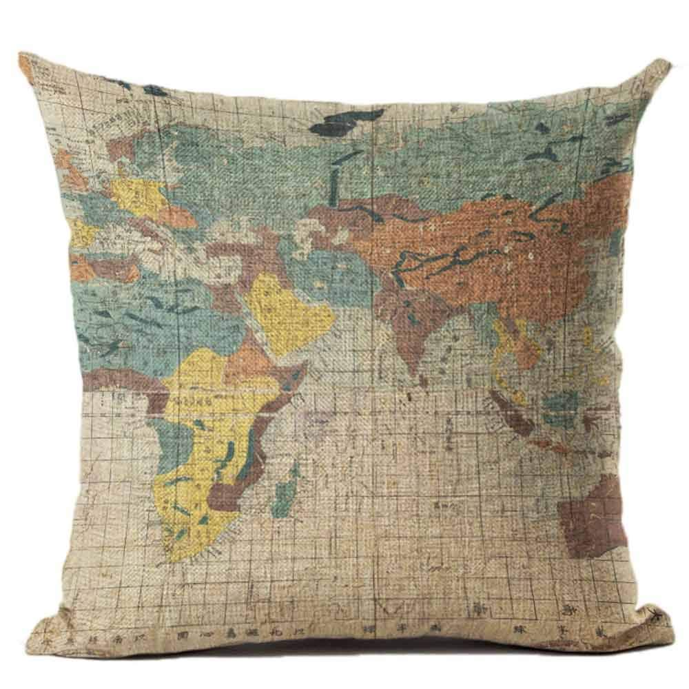 Pgojuni Map The World Print Pillow Cases Linen Cotton Sofa Cushion Cover Home Decor Sofa/Couch 1pc 45X45 cm (F)