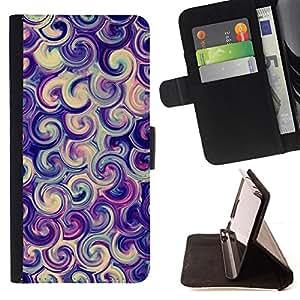 BullDog Case - FOR/HTC Desire 820 / - / vortex swirl purple candy surf swirl /- Monedero de cuero de la PU Llevar cubierta de la caja con el ID Credit Card Slots Flip funda de cuer