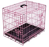 Cheap Internet's Best Wire Dog Kennel | Small (24 Inches) | Double Door Metal Steel Crates | Indoor Outdoor Pet Home | Folding and Collapsible Cage | Pink