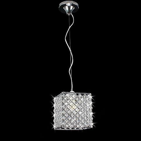 Chrome crystal 1 light mini pendant square chandelier amazon chrome crystal 1 light mini pendant square chandelier aloadofball Gallery