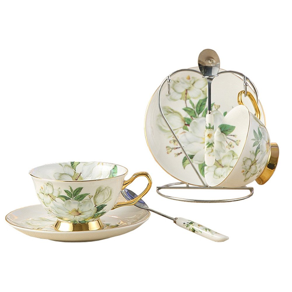 Bone China Ceramic 2-sets Tea Cup Coffee Cup,Camellia,White And Green doublebulls DT080