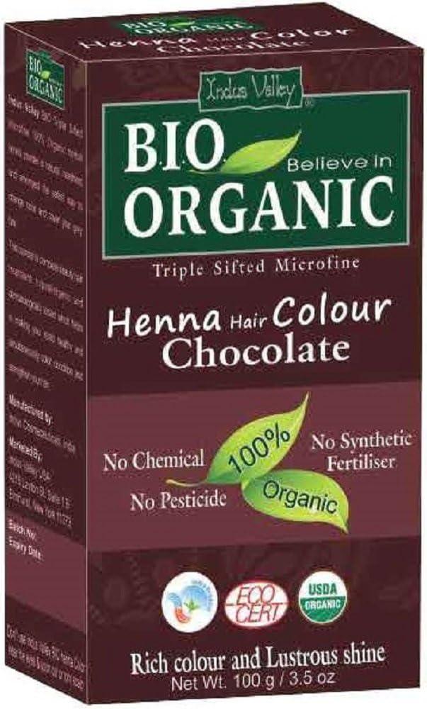 Indus Valley Henna Tinte para el cabello Chocolate 100% Bio Polvo microfino tamizado triple orgánico (Chocolate)