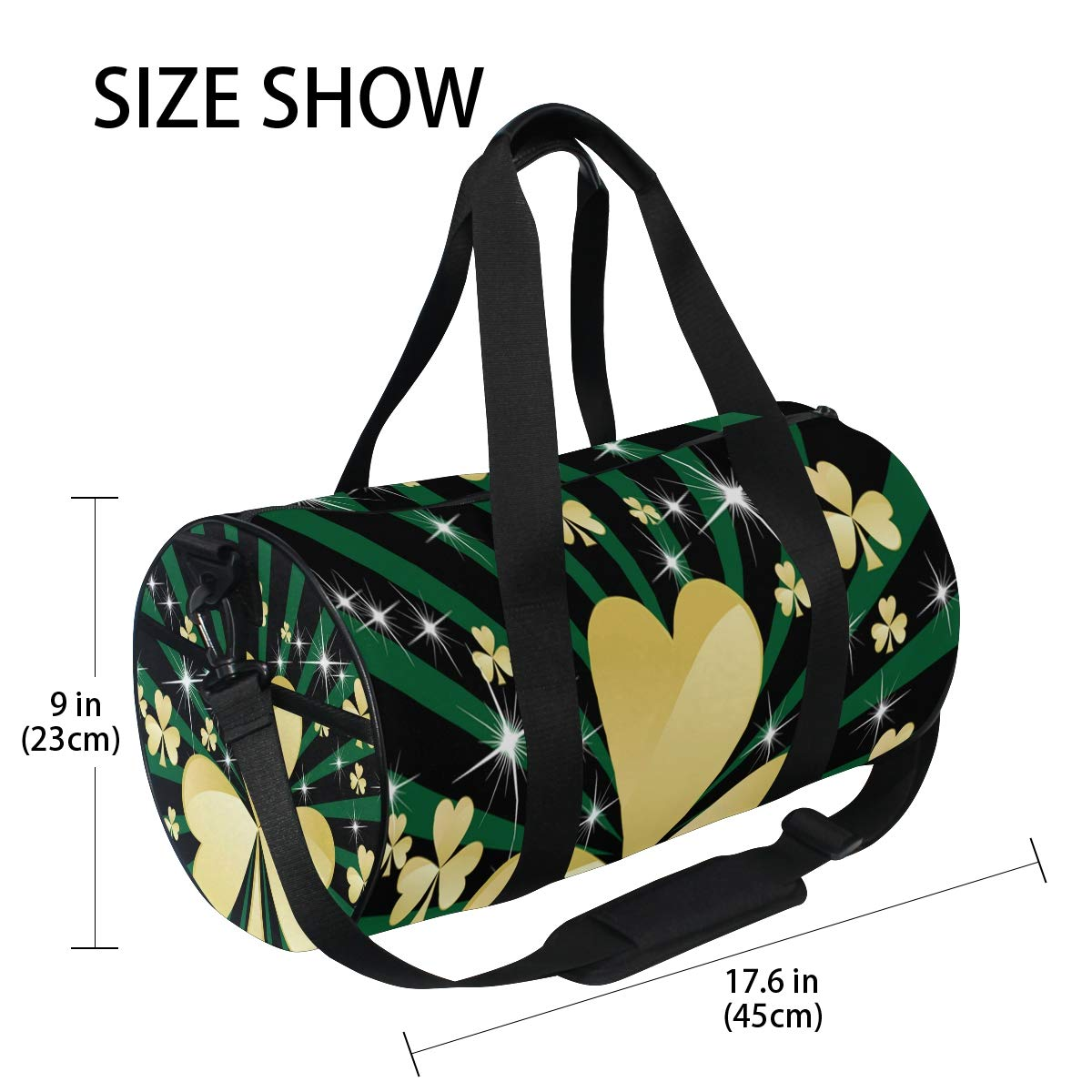 Sports Gym Duffel Barrel Bag Green Rays Golden Shamrock Travel Luggage Handbag for Men Women