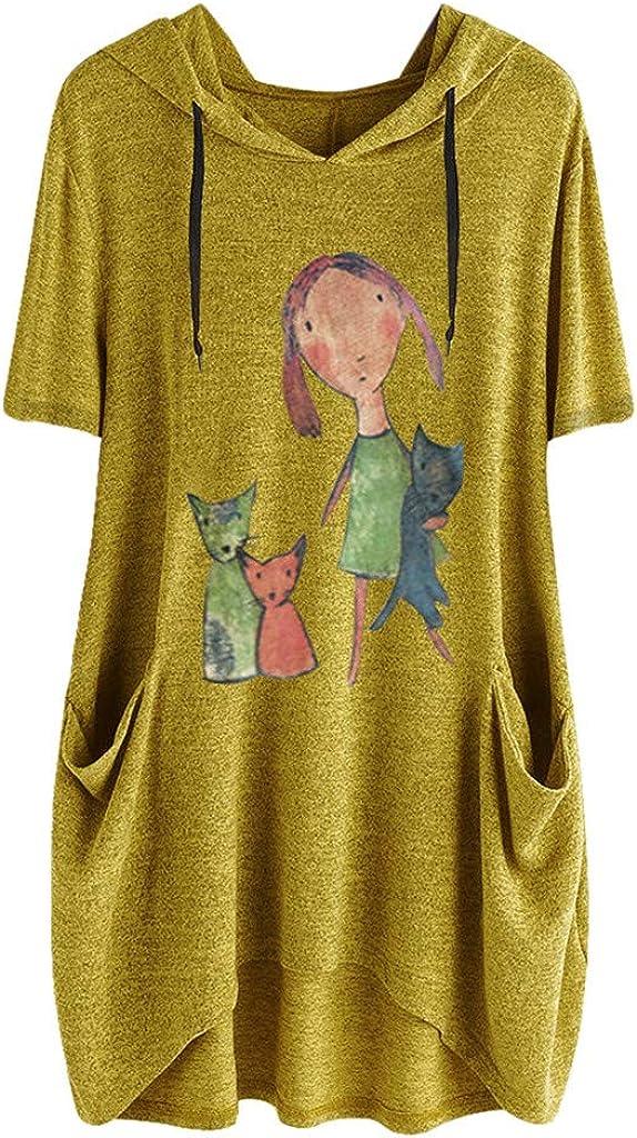 iNoDoZ Women's Print Short Sleeves Side Pocket Hooded Irregular Loose Casual Top Blouse Shirts Yellow 61xhka0zRlL