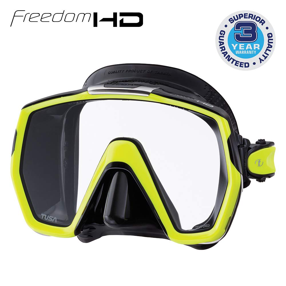TUSA M-1001 Freedom HD Scuba Diving Mask, Black/Flash Yellow
