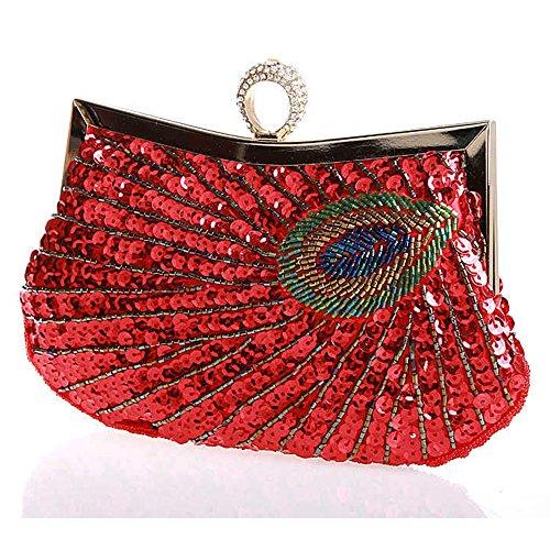 Clutch Wallet Myleas Red Peacock Cocktail Party Bag Folk Handbag Wedding Beaded Evening Style Women's wXSrZSqP