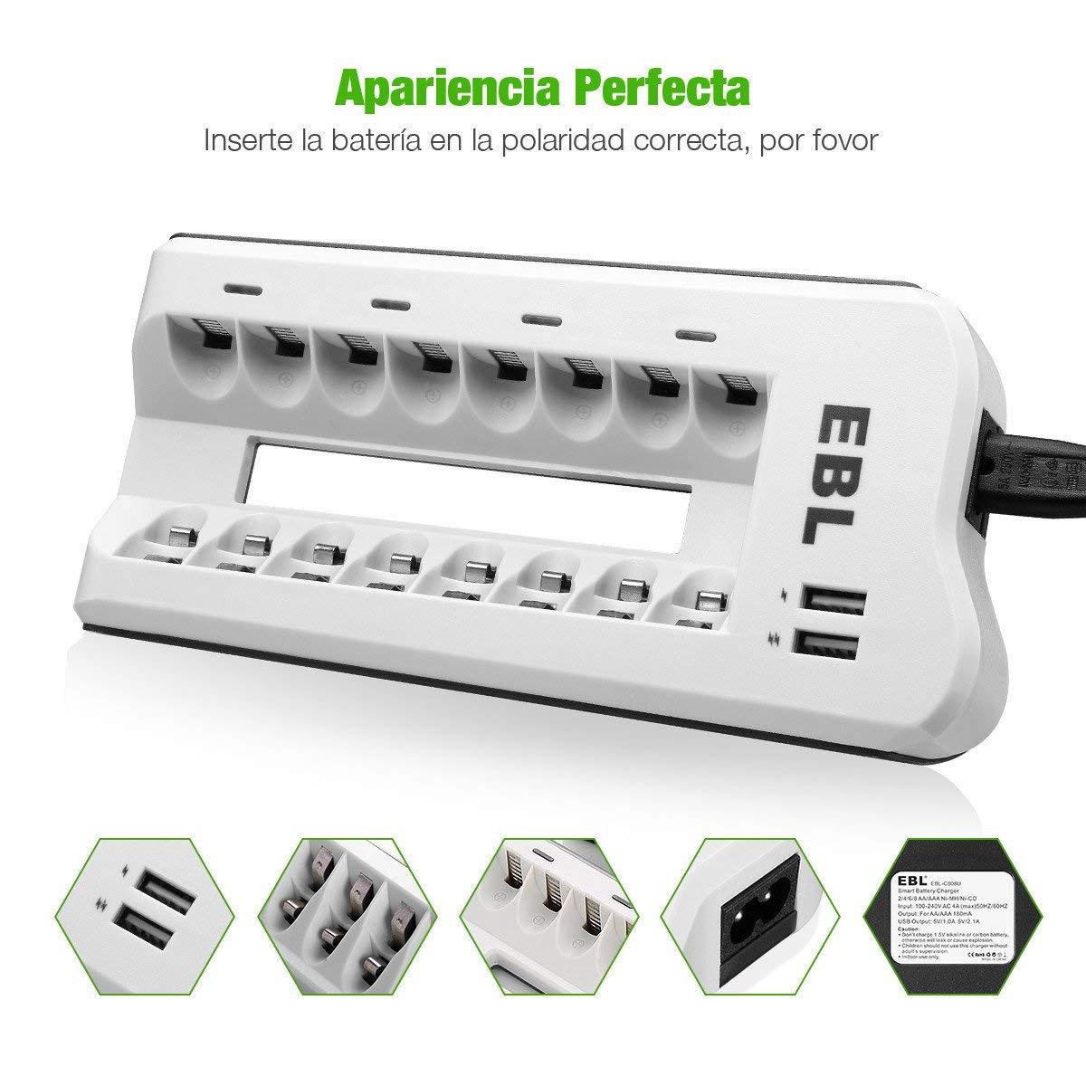 EBL 808U Cargador de AA, AAA Baterías con AA 2800mAh (4 Unidades) y AAA 1100mAh (4 Unidades) Ni-MH Pilas Recargables