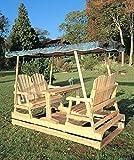 Deluxe Cedar Duplex Garden Glider w Shade (Burgundy) For Sale