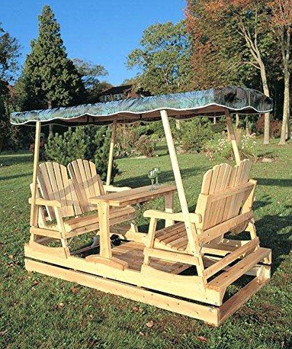Deluxe Cedar Duplex Garden Glider w Shade (Burgundy)