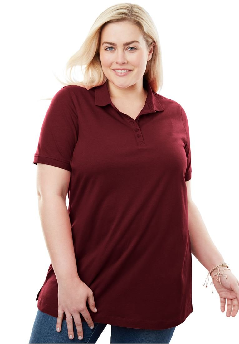 Women's Plus Size Perfect Short Sleeve Polo Tee Rich Burgundy,3X