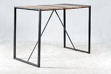 table bar haute systme dmontable 150x80x110 style industriel en bois de bateau recycl - Table Bar Industriel