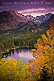 Rocky Mountain National Park, Colorado - Sunset and Lake (16x24 Giclee Gallery Print, Wall Decor Travel Poster)