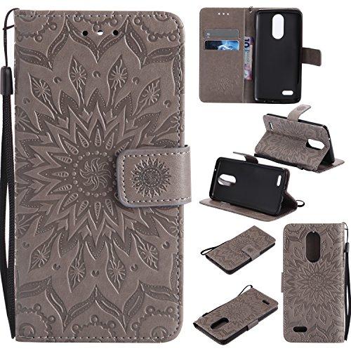 LG Aristo Case, LG Phoenix 3 Wallet Case,LG Fortune/K8 2017/LG Risio 2/LG Rebel 2 LTE Flip Case PU Leather Emboss Mandala SUN Flower Folio Magnetic Kickstand Cover with Card Slots for LG LV3 Gray