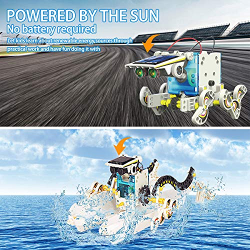 XUNPAS Solar Robot Kit 13-in-1 Science STEM Robot Kit Toys for Kids Aged 8-12 Science Building Set Gifts for Boys Girls Students Teens, Educational DIY Assembly Kit with Solar Powered