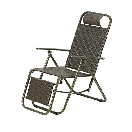 ZXQZ Lounge Chair Adult Summer Wicker Chair Foldable Lunch Break Chair Portable Office Lounge Chair Beach