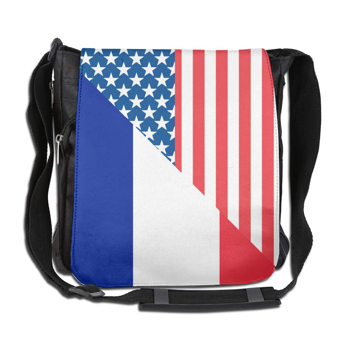 Unisex Classic Satchel Messenger Bags American And France Flag2 Crossbody Shoulder Bag Traveling Bag For School//Work//Trips