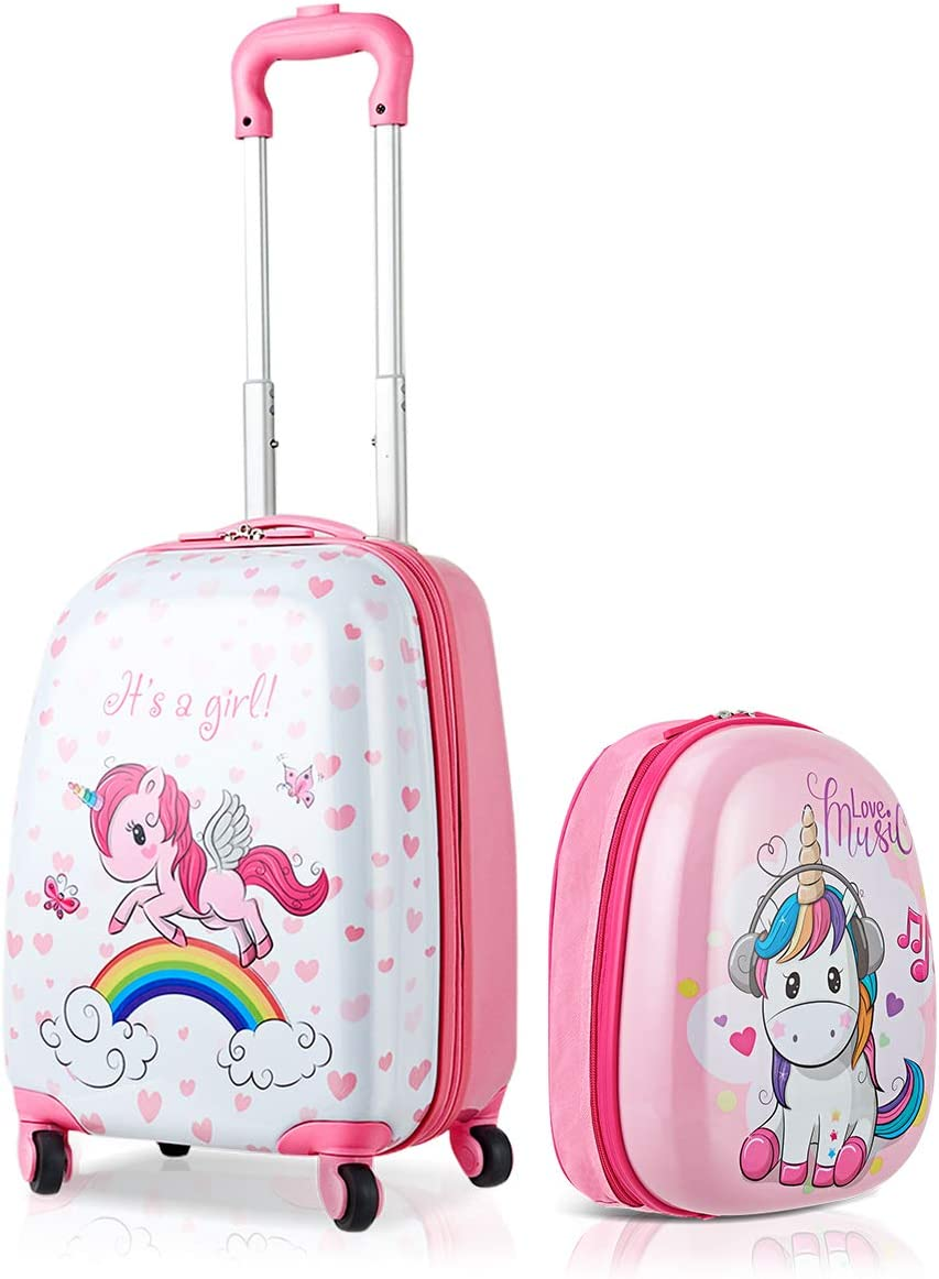 HONEY JOY 2Pc Kids Luggage Set, 12 Backpack 16 Rolling Suitcase, Hard Shell Trolley Suitcase with Spinner Wheels, Carry On Luggage Set for Boys and Girls Travel Unicorn