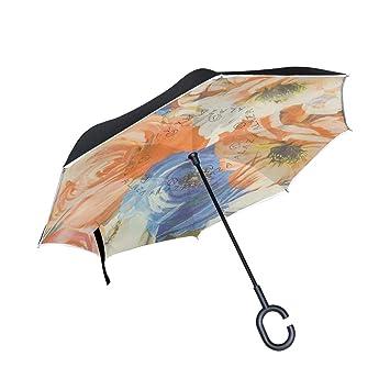 ISAOA - Paraguas Plegable de Doble Capa con protección contra el Viento, protección UV,