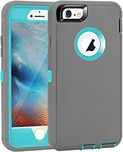 """iPhone 6 Plus/6S Plus Case, Maxcury Heavy Duty Shockproof Series Case for iPhone 6 Plus /6S Plus (5.5"""") with Built-in Screen Protector Compatible with All US Carriers (Gray/Lt Blue)"""