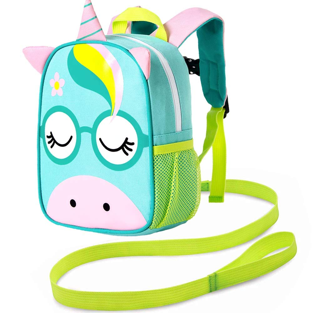 Backpack Leash, 9.5'' Toddler Unicorn Bag - Harness Safety with Removable Tether